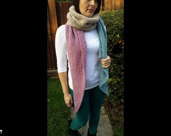 Soft mat pink, blue and cream scarf