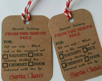 Santa Claus, North Pole Delivery, Message gift tag cards