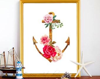 Anchor Print/ Nautical Anchor Art/ Anchor Decor/ Nautica/ TemperaArt Nautical Print/ Anchor Print/ Nautical Decor-Nautical Nursery-Beach Art