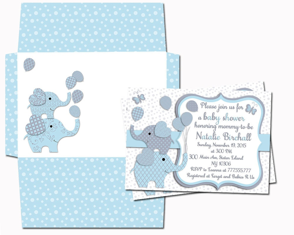 Elephant invitation with envelope Baby shower printable invite baby ...