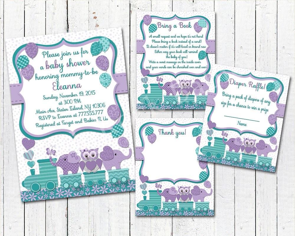 purple teal elephant baby shower printable owl invitation set