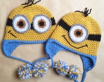 Crochet Minion Hat with Pom Poms- All sizes available!