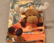 Moose minky blanket baby animal blanket cuddle blanket 24x24  orange tree camo orange dimple dot