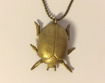 Beetle Necklace - Antique Bronze Painted Pendant (Insect Series)