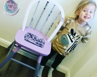 Upcycled Alice in Wonderland childrens chair in purple tones