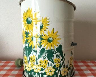Vintage crank flour sifter yellow floral