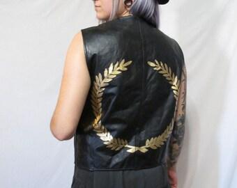 Hand Painted Vintage Leather Vest With Laurel On Back