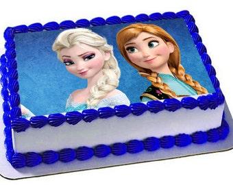 Ana Elsa Frozen Edible Cake Topper, Frosting Sheet, Frozen Party, Edible Images
