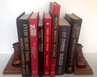 Vintage Books, Book Stack, Red & Black, 1965 to 2009, Set of 7, Instant Library, Old Books, Wedding Decor, Home Decor, Office Decor, Books