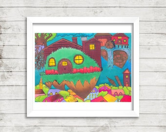 Colorful Fantasy Sky Village, Psychedelic Art, Original Drawing