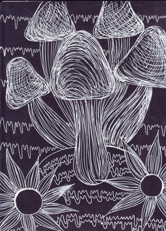 Line Drawing Etsy : Mushroom line art original drawing by artbymeganbrock on