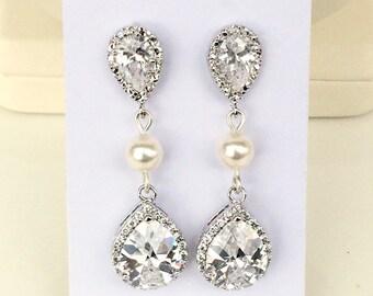 SALE Teardrop swarovski bridal earrings, swarovski pearl wedding jewellery, cubic zirconia bridal jewelry, teardrop bridesmaid earrings