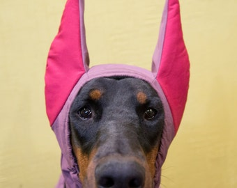 Doberman Winter Hat, Doberman Warmer, Dog Hat, Dog Clothing, Fleece Dog Hat, Dog snood, horned doberman (CUSTOM-MADE, INDIVIDUALLY)