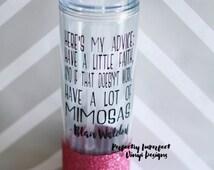 Custom Water Bottle//Personalized Skinny Tumbler//Gossip Girl Glass//Glitter Dipped Skinny Tumbler//Glitter Water Bottle