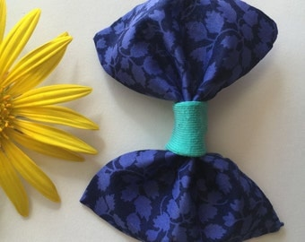 Navy Floral W/ Teal Bow