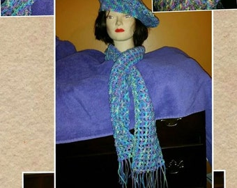 Crochet tam hats and scarf set
