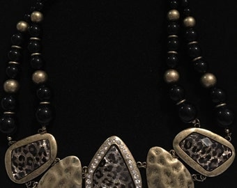 Vintage Black Beaded Multi-Strand Necklace With Cheetah Print Accents