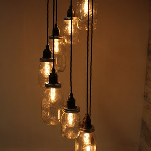 lydd handmade spiral edison pendant light with eight mason jars and fittings for e27 edison screw bulbs