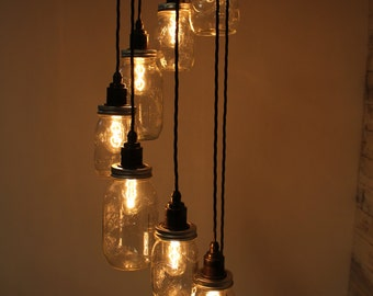 Lydd : Handmade Spiral Edison Pendant Light with Eight Mason Jars and  fittings for E27 Edison Screw Bulbs