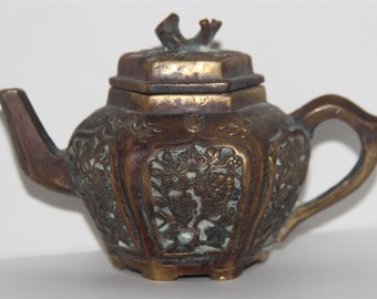 Very Beautiful Old Chinese, Japanese or Korean Brass Tea Pot. Marked.