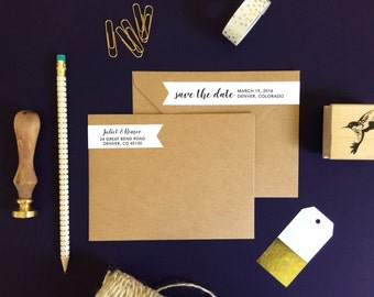 Save the Date Address Labels - Wedding Stickers Modern Save the Date Labels