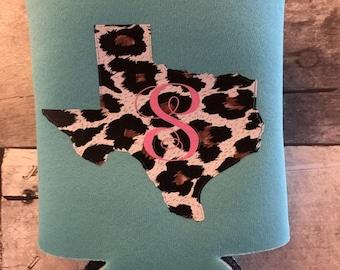 Texas Cheetah Print Initial Cozie, Custom Cozies, Initial Cozies, Texas Cozie, Personalized Cozie