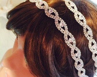 Double crystal headband, wedding headwrap, bridal double teist headband