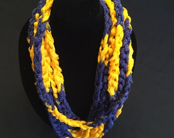 Yellow and Navy Crocheted Rope Scarf