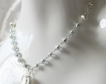 Swarovski and Venetian bead silver necklace