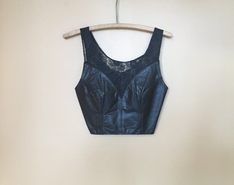 Vintage Leather Lace 1990s Halter Top Biker
