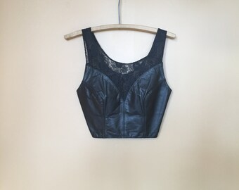 Black Leather and Lace Smokin Hot Vintage 90s Crop Top