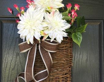 White dahlia summer door hanger basket - wreath alternative