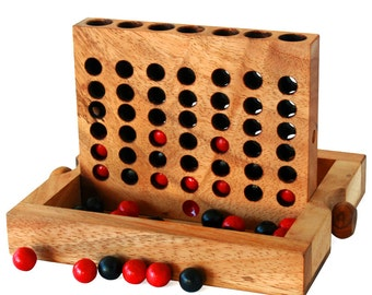 Wooden Toy : Wooden Connect Four - The Organic Natural Puzzle Game Play for Baby and Kids