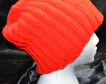 Red Ribbed Slouchy Hat