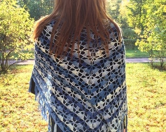 Handmade Croched Shawl Wrap in Blue and White