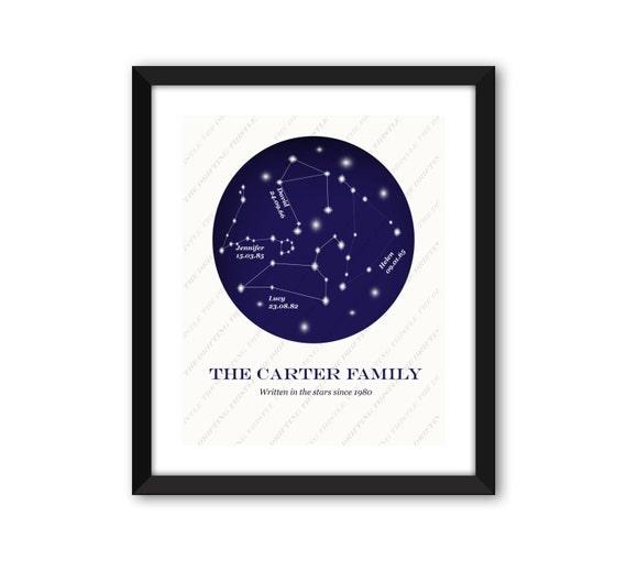 Wedding Star Chart: Astrology Print Zodiac Constellation Personalized Star
