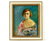 Vintage Portrait Painting - Woman in Patterned Shawl - Portrait Art - Oil Painting - Original Framed Artwork - Art Deco Painting