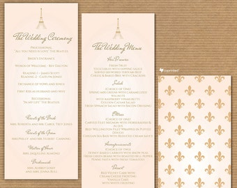 Tale From Paris Wedding Program - Wedding Menu- vintage, classic, formal, destination, elegant, classy, Paris, Eiffel, travelling, template