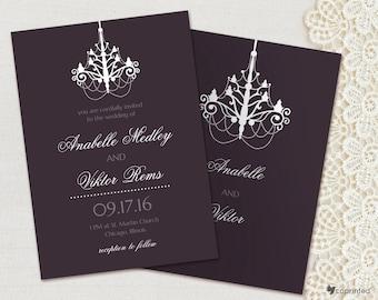 Sumptuous Chandelier Wedding Invitation - vintage, formal, elegant, chandelier, template, fancy, luxurious, deluxe, royal, customizable
