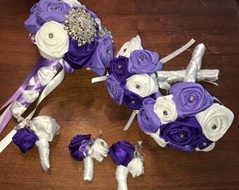 Purple Wedding Bouquet Set