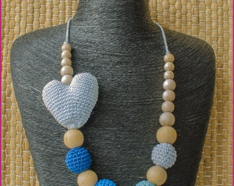 Crochet Heart Nursing Necklace - Teething Necklace