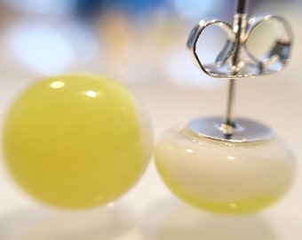 Yellow studs, fused glass earrings, post earrings, yellow glass earrings, glass studs, handmade earrings