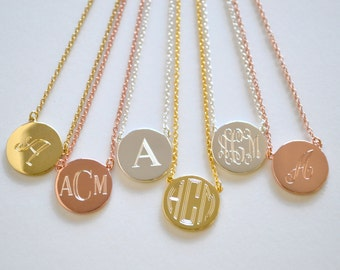 Monogram Circle Disc Necklace