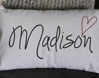 Name Pillow, Personalized Pillow, Custom Pillow, Decorative Pillow, Burlap, Newborn Pillow, Teenager Gift, Child Gift, 16x12 Pillow