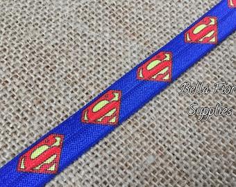 Superman Fold Over Elastic- Superhero FOE- Halloween FOE- Wholesale- DIY Headband- Halloween Headband- Superman Headband