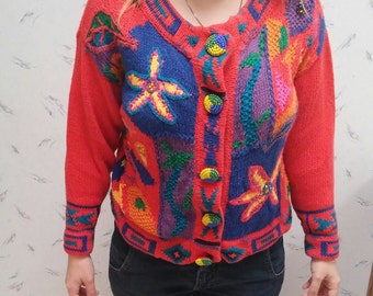 Unique patterned red sweater
