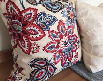 Red White Blue Floral Pillow Cover