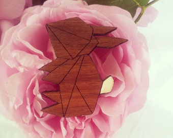 laser cut wood brooch bunny white tail