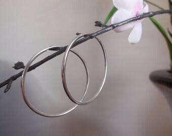 Sterling Silver Endless Hoop Earrings, Silver Tube Hoops, Hollow Tubes, Solid Plain Silver Hoops Earrings.