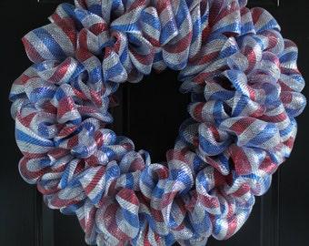 4th of July Deco Mesh Wreath (Silver)